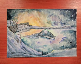 """Original artwork / """"The lake that holds the sky"""" / Crater Lake / Watercolor painting / 7x10 inches"""