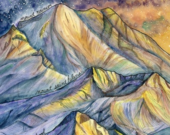 """Art print / """"What the mountains taught me"""" / Mount Rainier/ Mount St. Helens / Mount Hood / 12x16 inches"""