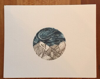 Tiny signed mountain watercolor giclée print