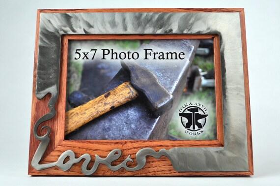 Bild Liebe 5 X 7 Rahmen Holz Und Metall Hochzeitsgeschenk Etsy