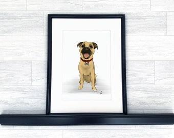 Poochy Portrait A4 Print - Dog Digital Art Pet Illustration Personalised