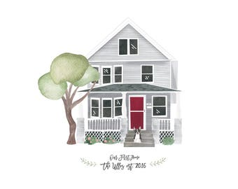 Custom House Portrait / Custom House Painting / Watercolor / (8x10)