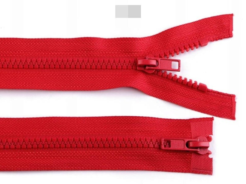2 sliders 50 cm two way red zipper 19,69 inches red double sided zipper 50cm Two Way Plastic Jacket Zipper 5 mm open-end