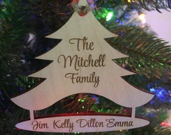 Custom Ornament Family Ornament Wood Christmas Ornament Christmas Tree Ornament Wood Ornament Personalized Ornament Family Christmas Gift