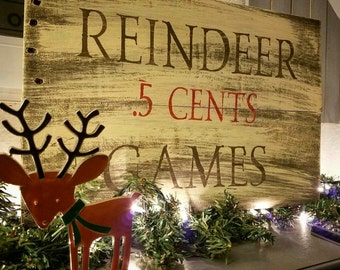 Reindeer Games Sign, Christmas Sign, Reclaimed Wood Christmas Sign, Holiday Sign, Pallet Wood Christmas Sign, Reindeer Sign, Ready to Ship