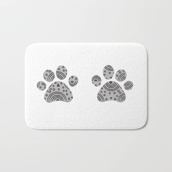 tapis de bain petites empreintes chat chiens personnalis s etsy. Black Bedroom Furniture Sets. Home Design Ideas