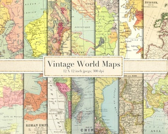 Digital vintage map etsy vintage world maps scrapbook paper digital paper backgrounds antique maps europe asia africa mexico britain ireland map download gumiabroncs Gallery