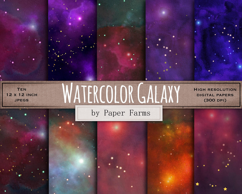Watercolor Galaxy Digital Paper Space Digital Paper Etsy