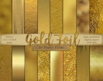 Gold digital paper, gold foil digital paper, gold foil, scrapbook paper, foil, gold digital paper, metallic gold, brushed gold, DOWNLOAD