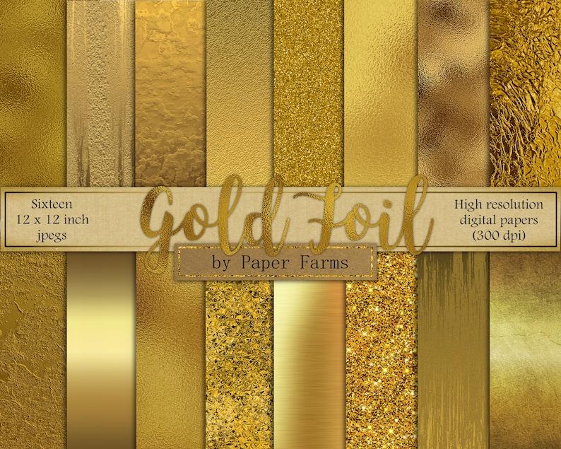Gold digital paper gold foil digital paper gold foil image 1