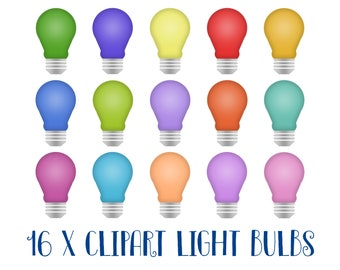 Clipart light bulbs, colored light bulbs, light bulb, glowing light, clipart, printable, illustrations, commercial use, rainbow, DOWNLOAD