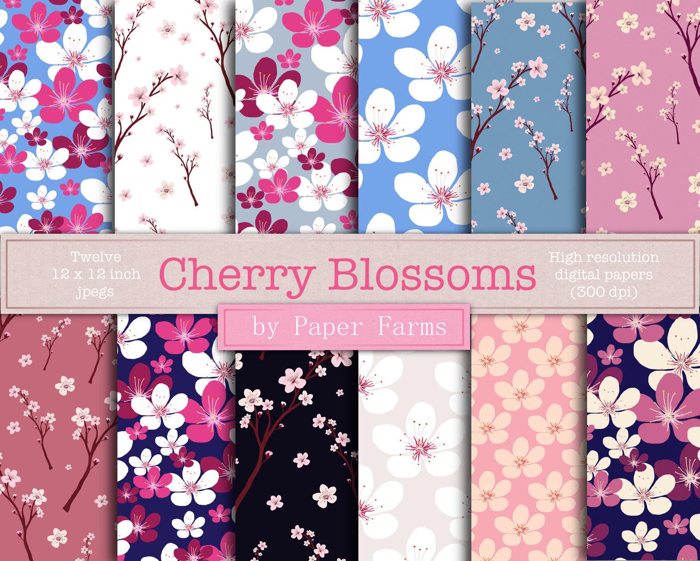 Cherry Blossom Digital Paper Spring Flower Digital Paper Etsy