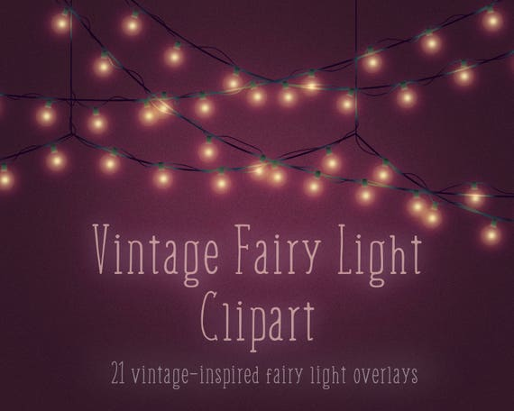 Vintage Christmas Lights.Vintage Fairy Lights Vintage Christmas Lights Clipart Overlays Light Bulbs Light Strings Strings Of Light Retro Digital Download