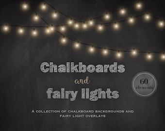 Chalkboards and fairy lights, chalkboard backgrounds, fairy light overlays, fairy light clipart, invitation supplies, light strings, DIGITAL