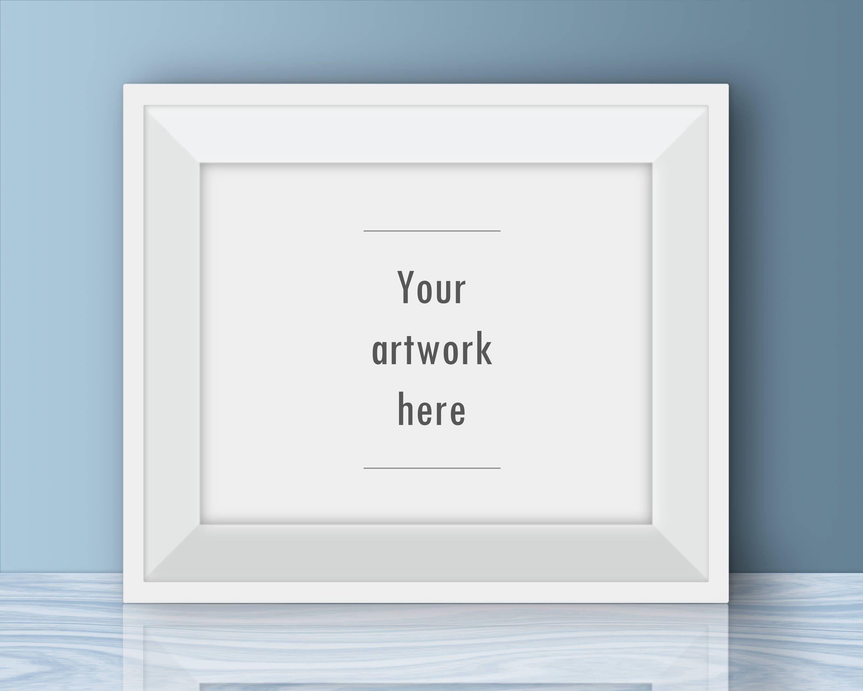 Horizontal digital frame poster mockup white frame mockup   Etsy