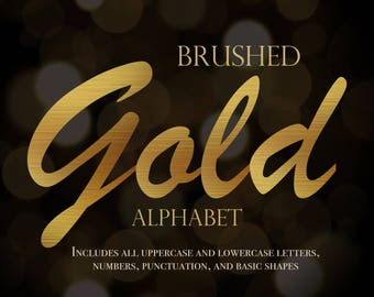 Gold alphabet digital, brushed gold alphabet, brushed gold lettering, gold alphabet, gold lettering, digital gold lettering