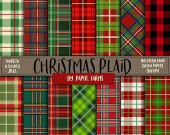 Christmas digital paper, Plaid digital paper, Christmas plaid digital paper, Christmas plaid scrapbook paper, red and green digital paper