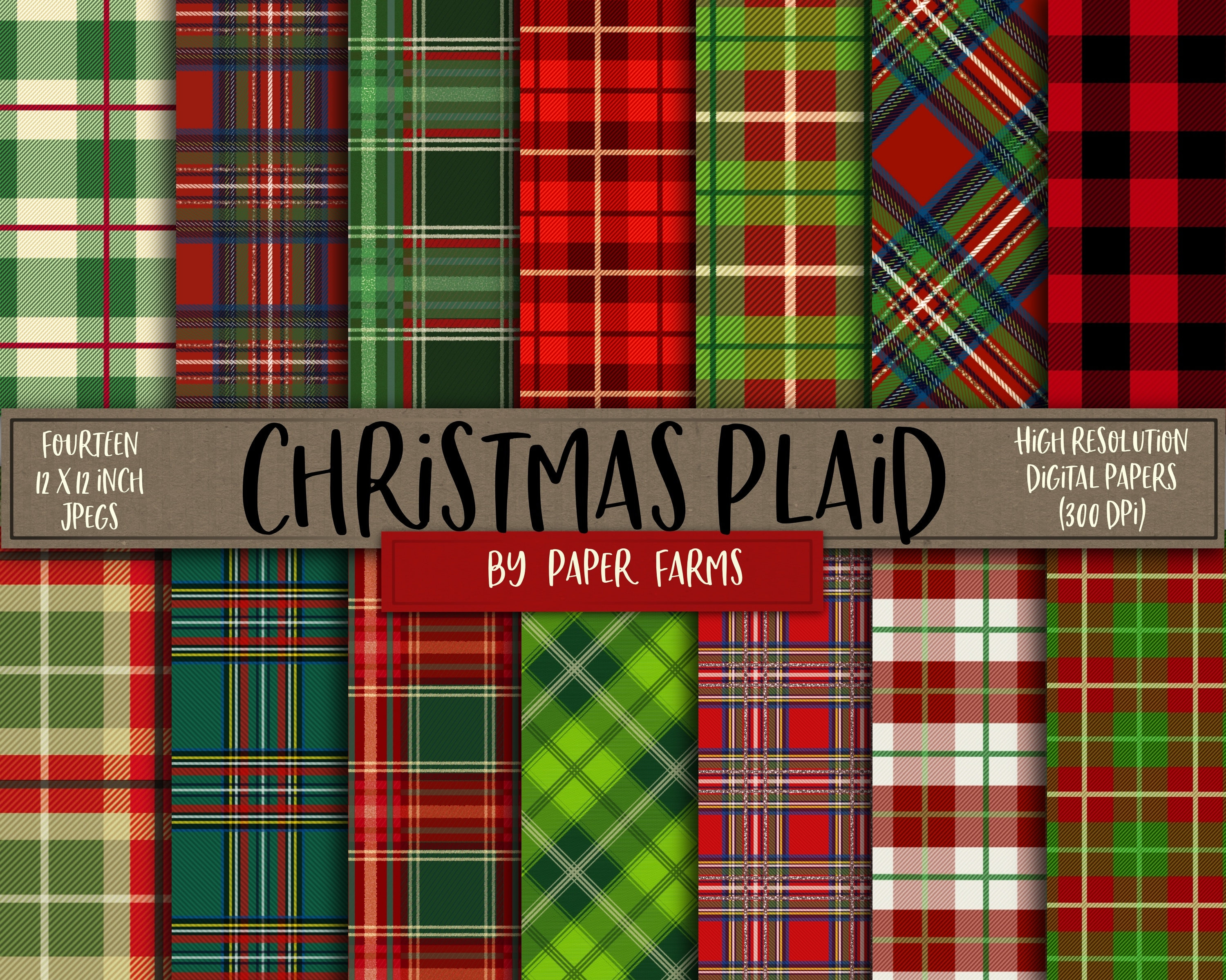 christmas digital paper plaid digital paper christmas plaid etsy - Christmas Plaid