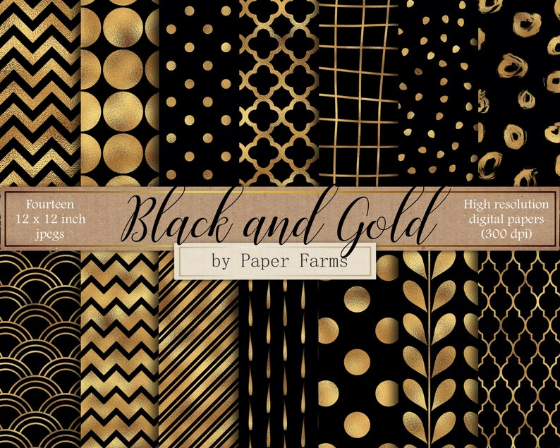 Black And Gold Digital Paper Black And Gold Scrapbook Paper Etsy