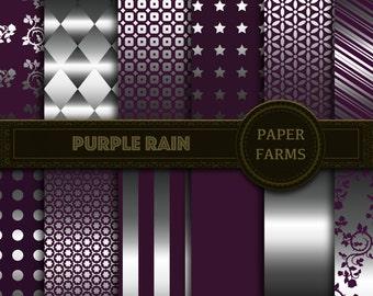Purple and silver digital paper, digital paper, metallic digital paper, silver digital paper, instant download, scrapbooking, invites