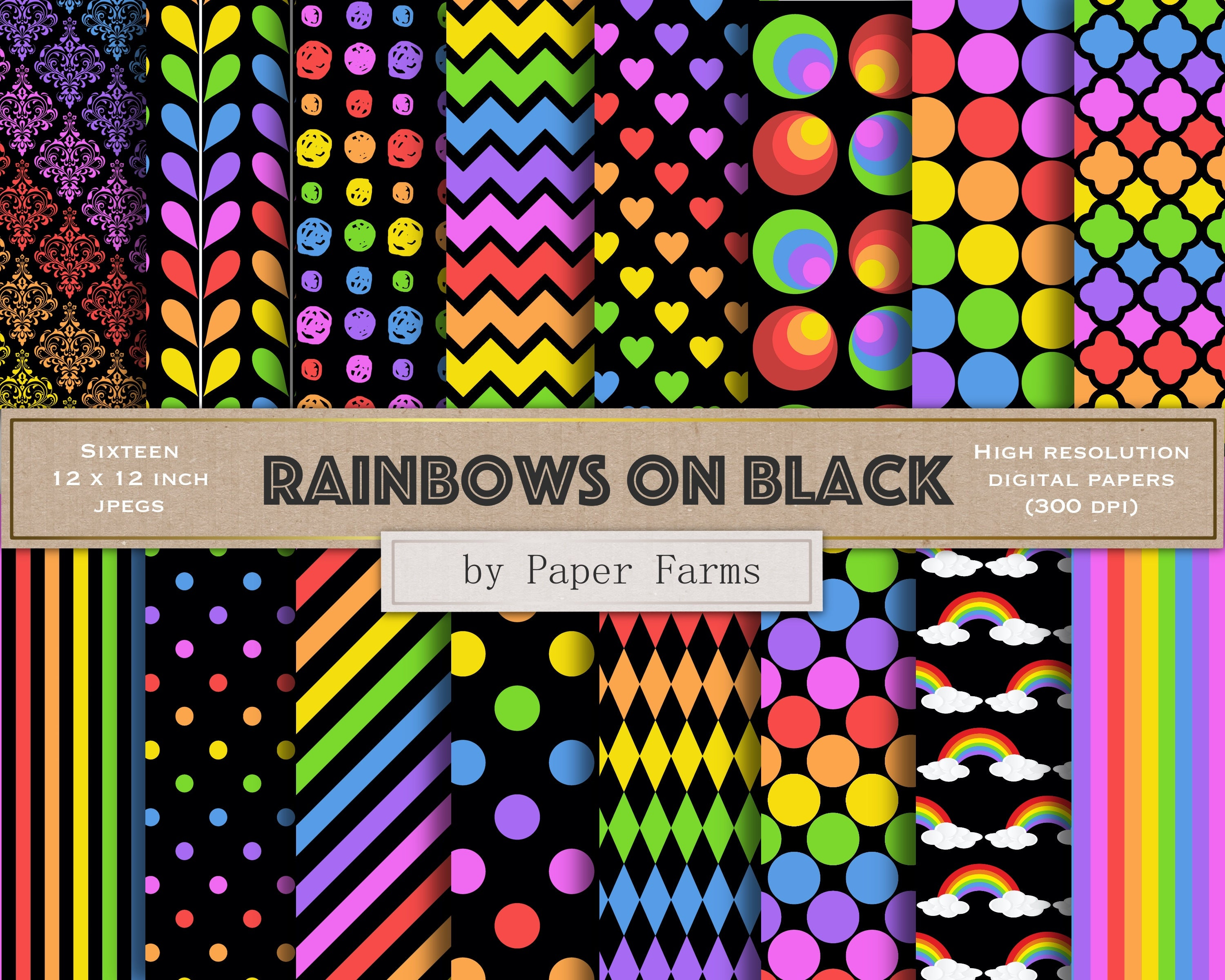 Rainbow digital paper black and rainbow scrapbook paper etsy zoom reheart Images
