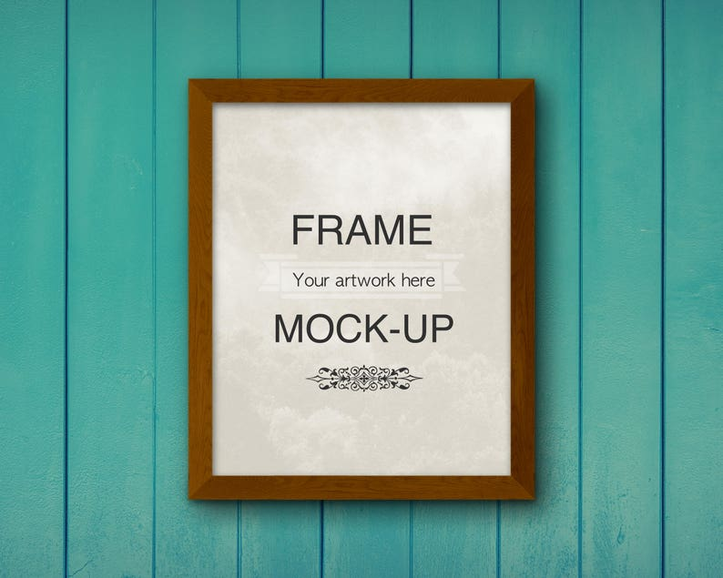 Frame Mockup Teal Background Teal Wood Digital Frame Poster Mockup Styled Stock Etsy Ad Mockup Png Frame Overlay Instant Download