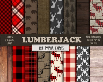 Lumberjack digital paper, lumberjack scrapbook paper, rustic digital paper, deer, forest, plaid, gingham, buffalo, wood, instant download