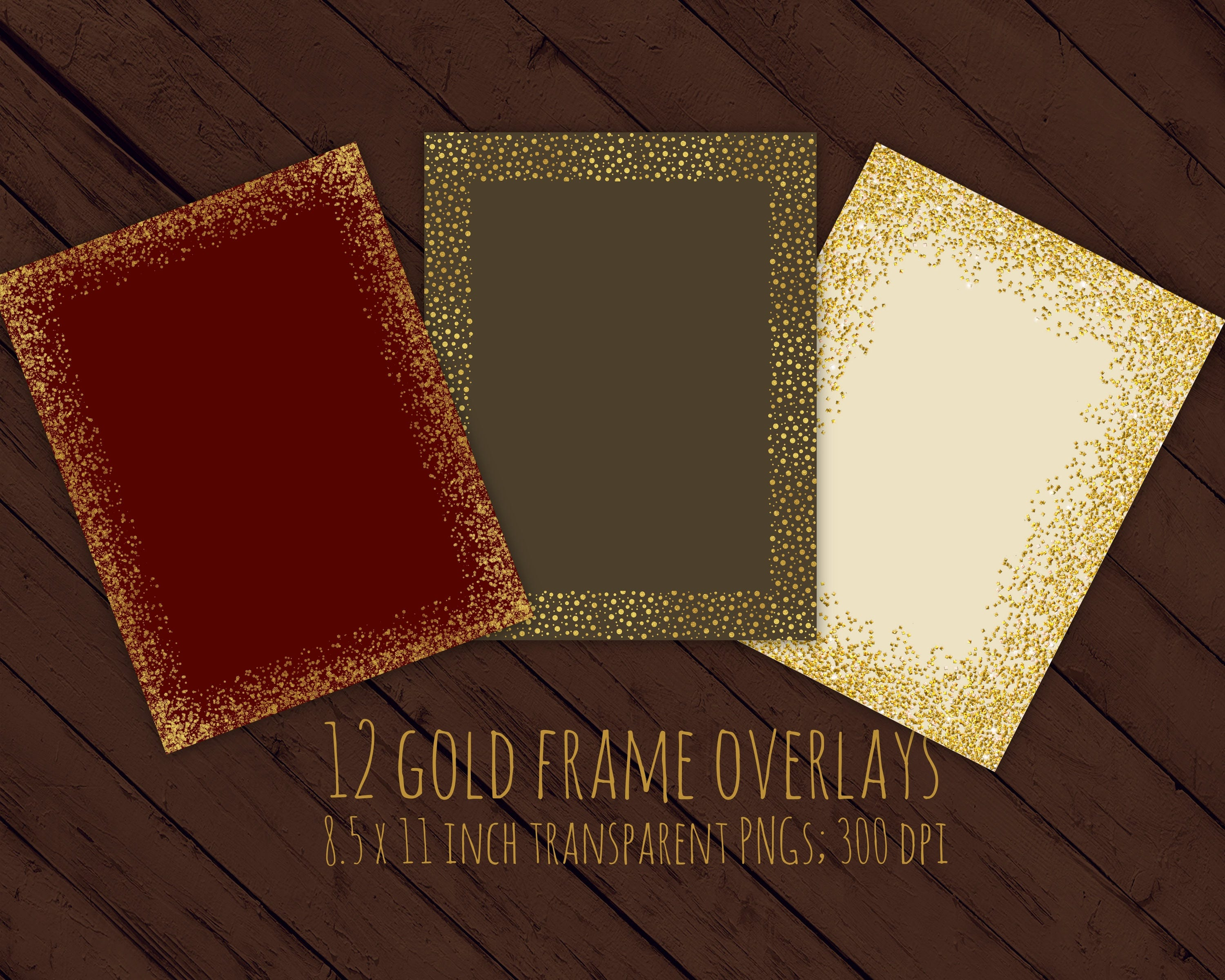 Gold Glitter Frames Overlays 85 X 11 Inches Christmas Etsy