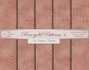 50% off, Rose gold, geometric patterns, digital paper, patterns, rose gold backgrounds, rose gold digital paper, rose gold scrapbook paper