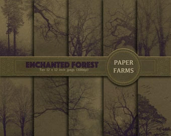 Forest digital paper, halloween digital paper, woods digital paper, nature digital paper, nature scrapbook paper, tree digital paper, gothic
