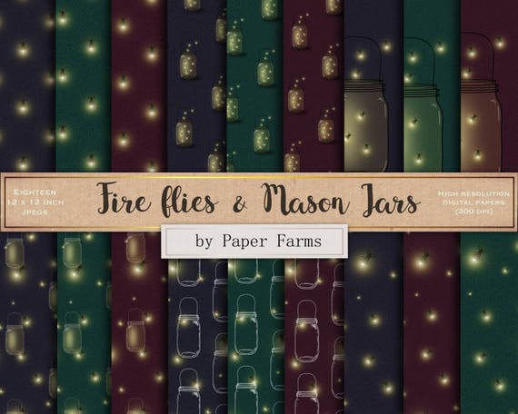 Fire Fly Digital Paper Fire Fly Scrapbook Paper Mason Jar Etsy
