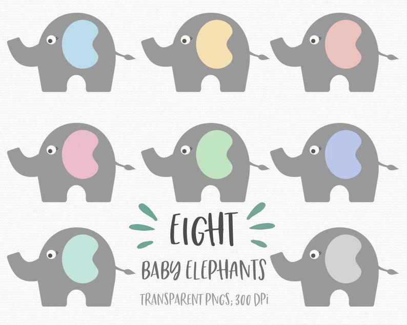 Elefant Clipart Baby Elefanten Clipart Tiercliparts Süßen Elefanten Rosa Grau Grau Gelb Blau Grün Digital Baby Download