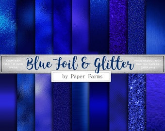 Blue foil digital paper, blue foil scrapbook paper, blue foil backgrounds, blue foil textures, blue foil, blue glitter, metallic blue, royal