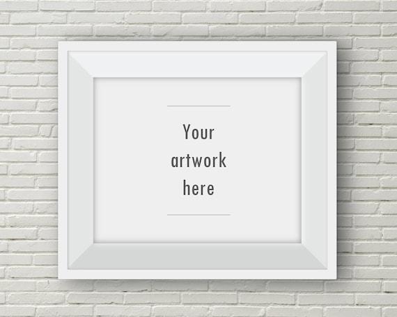 White frame mockup horizontal frame white brick background   Etsy