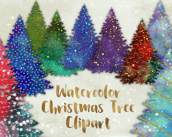 Christmas Tree Clipart Watercolor Christmas Trees Glitter