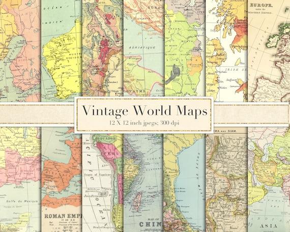 Vintage world maps scrapbook paper digital paper etsy gumiabroncs Images