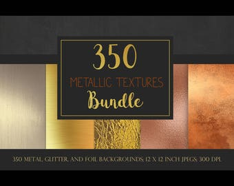 Metallic textures bundle, metallic backgrounds, discount pack, sale, bulk, gold, silver, rose gold, foil, glitter, metal, digital paper