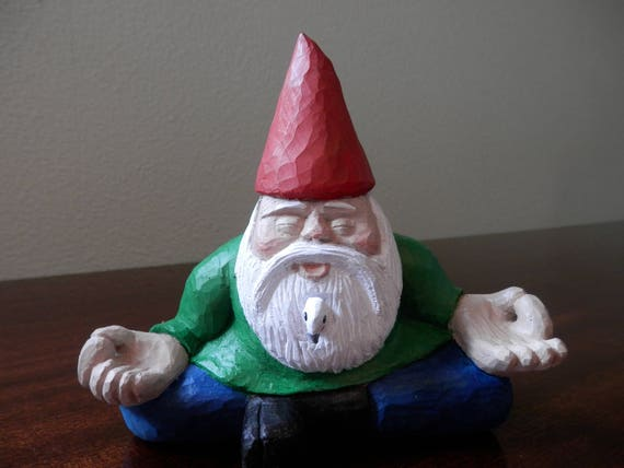 Lovely Zen Garden Gnome Meditating Garden Gnome Hand Carved Wooden | Etsy