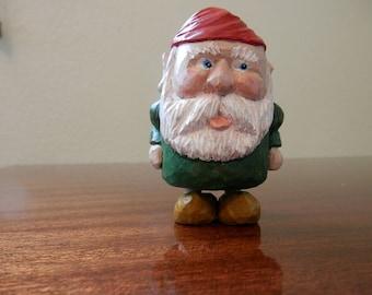 Miniature Garden Gnome Hand-Carved Wooden Figurine