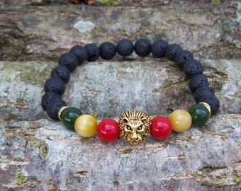 Rasta Lion Bracelet, Rasta Gemstone Bracelet, Lion Bracelet, Rasta Colors, Strength, Rastafari Jewelry, Reggae Bracelet, Reggae Colors