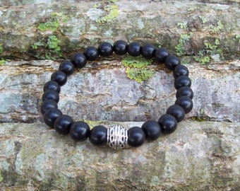 Wood Bead Bracelet, Stacking Bracelets, 8mm Wood Beads, Men's Bracelet, Men's Wood Bracelet, Round Wood Beads, Ebony, Beach bracelet