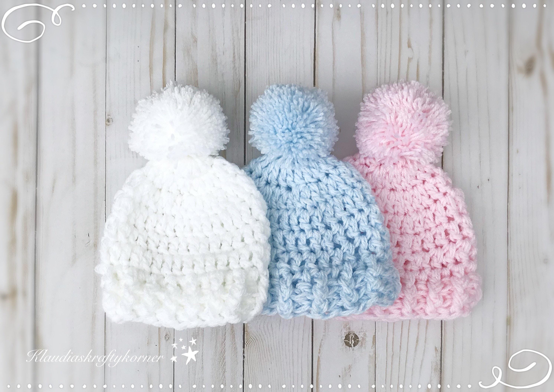 Newborn Hat Crochet Hat Crochet Baby Hat Baby Hat Pom Pom Etsy