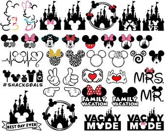 Mickey SVG, Minnie SVG, Mickey Mouse Svg, Minnie Mouse Svg, Family Vacation Svg, For Cricut, For Silhouette, Cut File, Dxf, Png, Svg