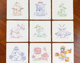 Flora and Fauna Friends Mini Art Prints