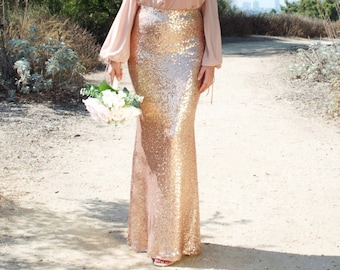 d8c898c31 Rose Gold Sequin Skirt - Trumpet Mermaid Maxi - High Waist