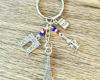 Vintage 1980s Paris subway ticket key ring French souvenir