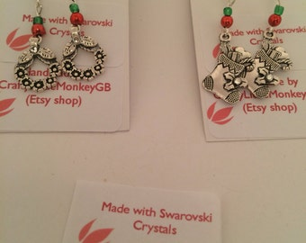 Christmas earrings made with swarovski crystals, festive earrings, christmas jewellery, xmas jewellery, item#044 by CraftyLittleMonkeyGB