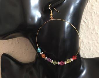 Rainbow hoop earrings. Gay pride earrings, LGBTQ earrings item 554 by CraftyLittleMonkeyGB