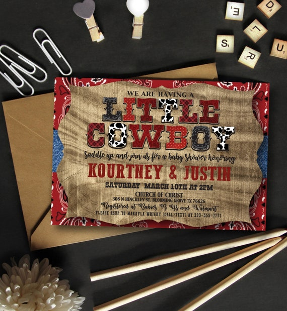 Cowboy Theme Baby Shower Invitation Saddle Up Baby Boy Etsy
