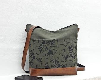 Canvas crossbody bag green large medium